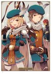 1boy 1girl ;d apple artist_name ayuto belt black_pants blue_hat brown_eyes brown_hair card_(medium) character_name cowboy_shot djeeta_(granblue_fantasy) eyebrows_visible_through_hair food fruit gran_(granblue_fantasy) granblue_fantasy grey_background grey_feathers grey_skirt grin gun hair_between_eyes hat hat_feather hawkeye_(granblue_fantasy) highres holding holding_fruit holding_gun holding_weapon looking_at_viewer miniskirt one_eye_closed open_mouth page_number pants pleated_skirt rifle short_hair skirt smile sparkle standing weapon