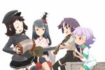 4girls akitsu_maru_(kantai_collection) black_legwear blush breasts closed_eyes commentary_request crate detached_sleeves eyebrows_visible_through_hair fusou_(kantai_collection) gloves hamahara_yoshio hat headgear instrument japanese_clothes kantai_collection long_hair long_sleeves low-tied_long_hair military military_uniform multiple_girls nontraditional_miko open_mouth pale_skin peaked_cap pleated_skirt red_eyes red_neckwear school_uniform serafuku short_hair short_sleeves shorts shouhou_(kantai_collection) simple_background sitting skirt smile standing tama_(kantai_collection) thighhighs uniform white_background white_gloves wide_sleeves