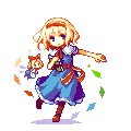 1girl alice_margatroid blonde_hair blue_eyes book boots bow capelet doll dress full_body hair_bow hairband lowres outstretched_arm pixel_art ribbon sash shanghai_doll short_hair solo touhou transparent_background yagimi