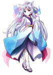 1girl :3 animal_ear_fluff animal_ears bangs blue_fire blue_kimono bow breasts commentary_request dairi eyebrows_visible_through_hair fire fox_ears geta grey_hair hair_bow hair_ornament highres hitodama japanese_clothes kimono long_hair long_sleeves looking_at_viewer medium_breasts obi parted_bangs pink_bow pink_eyes sash sidelocks sleeves_past_fingers sleeves_past_wrists solo standing tabi tachi-e touhoku_itako transparent_background very_long_hair voiceroid wide_sleeves
