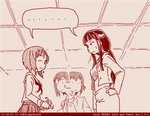 3girls comic dated girls_und_panzer long_hair monochrome mother_and_daughter multiple_girls nishizumi_maho nishizumi_miho nishizumi_shiho ooarai_school_uniform red rosmino school_uniform serafuku short_hair siblings sisters tegaki tegaki_draw_and_tweet twitter_username
