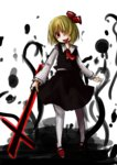 1girl blonde_hair blouse cross hair_over_one_eye kanno_fumiroku pantyhose red_eyes rumia short_hair skirt tongue tongue_out touhou vest