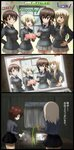 3koma 6+girls :d absurdres ahoge akaboshi_koume arms_behind_back belt birthday black_belt black_jacket black_neckwear black_skirt black_theme blue_eyes closed_mouth coffee comic commentary_request computer cup curly_hair dated day decorations dress_shirt epaulettes erica_hartmann gertrud_barkhorn gift girls_und_panzer girls_und_panzer_saishuushou grey_shirt grey_skirt haiiro_purin hair_ribbon hand_in_hair hand_on_another's_shoulder hand_on_hip hanna-justina_marseille highres holding holding_cup holding_gift indoors itsumi_erika jacket kuromorimine_school_uniform laptop light_smile long_sleeves military military_uniform miniskirt multiple_girls necktie niedersachsen_military_uniform night nishizumi_maho open_mouth party_popper pleated_skirt pouring ribbon school_uniform shirt silver_hair skirt smile strike_witches teapot translated twintails twitter_username uniform white_shirt window wing_collar world_witches_series