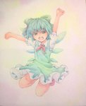 1girl arms_up blue_eyes blue_hair bow cirno clenched_hands dress hair_bow happy highres ice ice_wings jumping looking_at_viewer neck_ribbon open_mouth pink_background puffy_short_sleeves puffy_sleeves ribbon short_hair short_sleeves solo touhou traditional_media watercolor_(medium) wings yuyu_(00365676)
