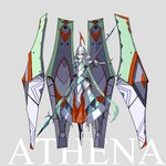 1girl armor armored_boots armored_dress athena_(mythology) boots braid breastplate character_name commentary_request floating floating_object full_armor full_body gauntlets greek_mythology green_hair grey_background helmet highres long_hair looking_at_viewer mecha_musume open_mouth original palow plate_armor polearm red_eyes shoulder_armor solo spear twin_braids upper_teeth very_long_hair weapon