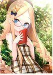 1girl abigail_williams_(fate/grand_order) absurdres alternate_costume alternate_hairstyle animal bangs bare_arms bare_shoulders beret bespectacled black_bow black_headwear blonde_hair blue_eyes blush book bow braid brown_dress bug butterfly collarbone day dress eyebrows_visible_through_hair fate/grand_order fate_(series) fingernails forehead glasses grey-framed_eyewear hair_bow hands_up hat highres holding holding_book insect leaf long_hair looking_at_viewer low_twintails non-web_source orange_bow outdoors parted_bangs parted_lips plaid plaid_dress plant polka_dot polka_dot_bow round_eyewear scan silver-framed_eyewear sleeveless sleeveless_dress solo sunlight twin_braids twintails upper_body very_long_hair yano_mitsuki