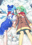 2girls absurdres bare_legs barefoot blue_bow blue_dress blue_eyes blue_hair bow brown_coat carrot cirno closed_mouth coat commentary_request daiyousei dress eye_contact fairy_wings green_eyes green_hair green_skirt hair_bow highres ice ice_wings long_hair looking_at_another lying miniskirt multiple_girls on_back on_ground pantyhose pebble pleated_skirt puffy_short_sleeves puffy_sleeves red_scarf scarf short_sleeves side_ponytail skirt smile snow snowman touhou wings winter winter_clothes winter_coat yal_(lily910218) yellow_legwear yuri