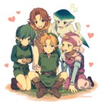 1boy 4girls belt blonde_hair blue_eyes brown_hair dress green_hair hairband harem heart instrument link long_hair malon mashima_shima multiple_girls ocarina pointy_ears princess_ruto princess_zelda saria short_hair smile the_legend_of_zelda the_legend_of_zelda:_ocarina_of_time young_link young_zelda
