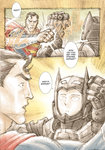 2boys absurdres anthony_tan armor batman batman_(cosplay) batman_v_superman:_dawn_of_justice blocking comic crossover dc_comics english highres male_focus multiple_boys one-punch_man punching saitama_(one-punch_man) short_hair superman