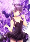 1girl absurdres animal_ear_fluff animal_ears bangs bare_arms bare_shoulders black_dress blunt_bangs blurry blurry_foreground blush cat_ears closed_mouth collarbone commentary_request depth_of_field dress eyebrows_visible_through_hair fingernails flower hand_up head_tilt highres holding holding_petal original pk_(mukasihasakana) purple_eyes purple_flower purple_hair see-through signature solo strapless strapless_dress twintails white_background