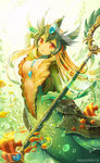 1girl :o applebanny blonde_hair bubble fish league_of_legends light_rays long_hair mermaid monster_girl nami_(league_of_legends) open_mouth orange_eyes solo staff sunbeam sunlight underwater