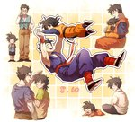 2boys age_progression baby black_eyes black_hair bowtie brothers dated dragon_ball dragon_ball_z glasses hug male multiple_boys siblings son_gohan son_goten