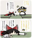 2girls black_dress black_hair blonde_hair bow comic commentary dress hair_bow hair_tubes hakurei_reimu hat highres kirisame_marisa kurokoori lying multiple_girls on_stomach red_dress squiggle tatami touhou translated witch_hat
