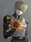 1boy black_sclera blonde_hair blurry clenched_hand cyborg earrings energy genos jewelry kim_yura_(goddess_mechanic) onepunch_man signature solo tank_top upper_body yellow_eyes