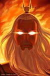 1boy avatar:_the_last_airbender avatar_(series) beard closed_mouth commentary english_commentary face facial_hair glowing glowing_eyes long_hair looking_at_viewer male_focus qinni roku_(avatar) serious solo tied_hair watermark web_address white_hair
