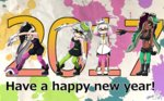 +_+ 2017 4girls ankle_boots aori_(splatoon) artist_name black_dress black_footwear black_gloves black_hair black_jumpsuit black_shirt black_shorts black_skin boots breasts brown_eyes cleavage closed_mouth commentary_request cousins crop_top crown detached_collar domino_mask dress earrings english eyebrows_visible_through_hair fingerless_gloves food food_on_head gloves green_eyes green_legwear grey_hair happy_new_year headwear_removed highlights hime_(splatoon) hotaru_(splatoon) iida_(splatoon) jewelry leaning_forward leaning_to_the_side long_hair looking_at_viewer mask medium_breasts midriff mole mole_under_eye mole_under_mouth multicolored_hair multiple_girls navel new_year object_on_head octarian open_mouth paint_splatter pantyhose pantyhose_under_shorts pointy_ears pose purple_legwear shirt short_dress short_hair short_jumpsuit shorts signature sleeveless sleeveless_dress smile splatoon splatoon_1 splatoon_2 standing strapless strapless_dress sushi tentacle_hair usa_(dai9c_carnival) white_dress white_footwear white_gloves white_hair zipper_pull_tab