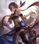 1girl angela_(lord_of_vermilion_iii) angela_(lord_of_vermilion_iii)_(cosplay) arm_at_side black_legwear black_skirt blonde_hair breasts cosplay detached_sleeves djeeta_(granblue_fantasy) dutch_angle feet_out_of_frame granblue_fantasy hair_between_eyes hair_ornament holding holding_sword holding_weapon left-handed lord_of_vermilion lord_of_vermilion_iii medium_breasts miniskirt parted_lips pencil_skirt red_eyes see-through short_hair skirt solo standing sword tenyo0819 thighhighs walking weapon zettai_ryouiki