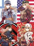 4girls >:( absurdres america american_flag ammunition_pouch assault_rifle bag bangs belt belt_buckle belt_pouch binoculars blonde_hair blue_eyes blue_skirt bolt_action breasts brown_belt buckle canteen character_name clip_(weapon) closed_mouth coat coat_of_arms commentary commentary_request cowboy_shot earmuffs en_bloc_clip explosive eyebrows_visible_through_hair finland finnish_flag finnish_text flag_background from_side fur_collar fur_hat fur_trim germany girls_frontline gloves green_eyes green_neckwear grenade grenade_pin gun hair_between_eyes hair_tie hair_undone hammer_and_sickle hand_in_hair handgun hat highres holding holding_grenade holding_weapon holster holstered_weapon hood hood_down hooded_coat jacket knife load_bearing_equipment long_hair looking_back looking_to_the_side m1911 m1_garand m1_garand_(girls_frontline) military military_hat military_uniform mod3_(girls_frontline) mosin-nagant mosin-nagant_(girls_frontline) multiple_girls multiple_straps necktie open_clothes open_coat over_shoulder pantylines pistol pouch red_background red_neckwear red_star revolver ribbed_sweater rifle russia satchel sidelocks skirt smile soviet stg44 stg44_(girls_frontline) submachine_gun suomi_kp/-31 suomi_kp31_(girls_frontline) swastika sweater testame uniform ushanka weapon weapon_over_shoulder white_background white_coat white_gloves white_headwear