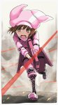 1girl animal_ears animal_hat bangs black_footwear blush boots brown_eyes brown_hair bullet_line bullpup bunny_ears bunny_hat commentary_request cross-laced_footwear eyebrows_visible_through_hair gloves gun hair_between_eyes hat holding holding_gun holding_weapon jacket knee_boots lace-up_boots llenn_(sao) open_mouth p-chan_(p-90) p90 pants pink_gloves pink_hat pink_jacket pink_pants solo standing standing_on_one_leg submachine_gun sword_art_online sword_art_online_alternative:_gun_gale_online tea_(nakenashi) tears wavy_mouth weapon