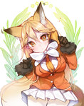 1girl :o animal_ears black_gloves blonde_hair bow brown_eyes fox_ears fox_tail fur_trim gloves highres jacket kanola_u kemono_friends kita_kitsune long_hair long_sleeves looking_at_viewer miniskirt pantyhose pleated_skirt simple_background skirt solo tail thigh_gap white_bow white_skirt