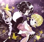 2girls apron beatrice blonde_hair blue_eyes bow brown_hair bug butterfly choker dress flower hair_flower hair_ornament holding_hands insect juliet_sleeves long_sleeves maekawa_suu multiple_girls muted_color no_hat no_headwear puffy_sleeves purple_eyes red_flower red_rose rose shannon smile umineko_no_naku_koro_ni