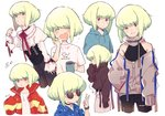 1boy blonde_hair blush corset cup dress_shirt earrings green_hair highres hood hoodie jewelry lio_fotia mm_y19 mug multiple_outfits off_shoulder open_mouth promare purple_eyes shirt sleeves_past_wrists smile sunglasses sweater t-shirt v watch wristwatch yawning