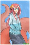 1girl absurdres animal_ears blue_eyes cherry_(snekfag) commentary_request commission eyebrows_visible_through_hair glasses green-framed_eyewear hair_ornament hands_in_pockets hhhori highres hood hood_down hoodie lamia long_hair long_sleeves looking_at_viewer monster_girl monster_musume_no_iru_nichijou original parted_lips red_hair scales semi-rimless_eyewear signature slit_pupils solo standing under-rim_eyewear