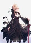 1girl absurdres artoria_pendragon_(all) black_legwear black_ribbon black_shirt black_skirt blonde_hair braided_bun breasts character_name choker cleavage collarbone criss-cross_halter dark_excalibur fate/stay_night fate_(series) formal hair_between_eyes halterneck hand_on_hilt highres hongsung0819 long_skirt long_sleeves looking_at_viewer medium_breasts pantyhose ribbon saber_alter shirt shrug_(clothing) sidelocks simple_background skirt skirt_suit sleeveless sleeveless_shirt solo suit sword tied_hair weapon white_background wide_sleeves wrist_ribbon yellow_eyes