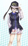1girl :p arigato_(rmskrtkdlqj) arm_up bare_legs baseball_cap black-framed_eyewear black_hair black_hat black_jacket black_shirt blue_eyes blush breasts closed_mouth clothes_writing collared_shirt commentary_request feet_out_of_frame glasses hand_in_pocket hand_on_headwear hat highres idolmaster idolmaster_shiny_colors jacket legs_apart long_hair long_sleeves looking_at_viewer miniskirt mitsumine_yuika open_clothes open_jacket patterned_background patterned_clothing pleated_skirt print_skirt raglan_sleeves shirt skirt small_breasts solo standing star tongue tongue_out twintails two-tone_background unmoving_pattern white_skirt white_sleeves