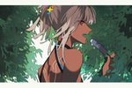 1girl altera_(fate) arlizi back_tattoo bare_shoulders bush dark_skin eyebrows_visible_through_hair fate/grand_order fate_(series) food grey_hair hair_ornament hairclip holding holding_food ice_cream leaf open_mouth popsicle red_eyes sideways_glance solo tan tattoo tied_hair tree