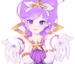1girl alternate_costume blue_eyes blush elbow_gloves gloves hair_ornament janna_windforce kuro-mu league_of_legends long_hair magical_girl open_mouth outstretched_arms pointy_ears purple_hair solo star star_guardian_janna