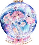 1girl acrylic_paint_(medium) bow bug butterfly cherry_blossoms chibi eyebrows_visible_through_hair frilled_skirt frills hair_between_eyes hat head_tilt hitodama insect japanese_clothes kimono light_smile long_sleeves looking_at_viewer millipen_(medium) mob_cap nyunmaru obi pink_eyes pink_hair reaching_out ribbon saigyouji_yuyuko sash short_hair simple_background skirt snow_globe solo tabi touhou traditional_media triangular_headpiece white_background white_legwear zouri