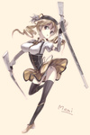 1girl beret blonde_hair breasts brown_eyes drill_hair gun hat large_breasts magical_girl magical_musket mahou_shoujo_madoka_magica motofumi panties rifle skirt solo thighhighs tomoe_mami twintails underwear weapon