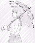 1girl 7_calpis_7 bangs blush closed_mouth commentary_request eyebrows_visible_through_hair greyscale hair_between_eyes highres holding holding_umbrella long_sleeves looking_at_viewer looking_to_the_side monochrome original pleated_skirt rain sailor_collar school_uniform serafuku skirt solo transparent transparent_umbrella umbrella