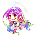 1girl angel_wings blush_stickers breasts chibi crop_top drooling feathered_wings gloves gradient_eyes gradient_hair halo highres jibril_(no_game_no_life) large_breasts long_hair low_wings magic_circle midriff mimi0846 mismatched_legwear multicolored multicolored_eyes multicolored_hair navel no_game_no_life open_mouth orange_eyes pink_hair solo tattoo very_long_hair white_wings wing_ears wings yellow_eyes