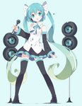 1girl :o aqua_eyes aqua_hair bangs bare_shoulders black_footwear black_legwear black_skirt blue_background blush boots bow bowtie commentary_request detached_sleeves eyebrows_visible_through_hair full_body gradient_hair green_hair hair_between_eyes hair_ribbon hatsune_miku head_tilt headset heart holding holding_microphone long_hair long_sleeves looking_at_viewer microphone multicolored_hair parted_lips pleated_skirt ribbon skirt solo speaker standing tantan_men_(dragon) thigh_boots thighhighs twintails very_long_hair vocaloid wide_sleeves