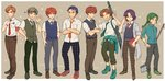 6+boys belt blue_hair brown_hair clothes_around_waist coat crossed_arms eliwood_(fire_emblem) erk_(fire_emblem) fire_emblem fire_emblem:_rekka_no_ken green_hair guy_(fire_emblem) hector_(fire_emblem) jacket_around_waist kent_(fire_emblem) male_focus multiple_boys necktie one_eye_closed raven_(fire_emblem) red_hair sain shirt shoes simple_background student uniform waving wil_(fire_emblem)
