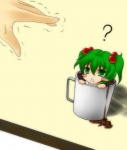 1girl bad_id bad_pixiv_id blush_stickers cup green_eyes green_hair hair_bobbles hair_ornament in_container in_cup kisume minigirl short_hair so_moe_i'm_gonna_die! solo sweatdrop tora_tsugumi_(nue1114) touhou trembling twintails