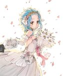 1girl blue_hair blush bouquet breasts brown_eyes dress elbow_gloves eyebrows_visible_through_hair fairy_tail flower gloves hair_flower hair_ornament holding holding_bouquet holding_hands levy_mcgarden long_hair petals pink_flower rusky sideboob simple_background sleeveless sleeveless_dress small_breasts smile striped striped_dress wedding_dress white_background white_dress white_flower white_gloves yellow_hairband
