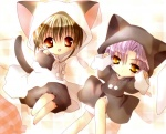 1boy 1girl animal_costume animal_ears barefoot brown_hair cat_costume cat_ears cat_tail higuchi_kotarou koge_donbo looking_at_viewer orange_eyes pajamas pita_ten purple_hair red_eyes scan shia_(pita_ten) tail