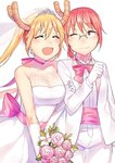 2girls :d arm_hug bare_shoulders blonde_hair blush bouquet breasts bridal_veil bride closed_eyes dragon_horns dress earrings elbow_gloves fang flower glasses gloves groom horns jewelry kobayashi-san_chi_no_maidragon kobayashi_(maidragon) large_breasts multiple_girls one_eye_closed open_mouth pink_flower red_eyes red_hair smile strapless strapless_dress tiara tiny_(tini3030) tooru_(maidragon) tuxedo twintails veil wedding_dress white_gloves wife_and_wife yuri