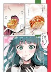 +_+ 1girl blue_eyes blue_hair cleopatra_(fate/grand_order) close-up closed_mouth comic eating fate/grand_order fate_(series) fork hairband heart highres lasagna_(food) long_hair redrop smile steam translation_request twitter_username