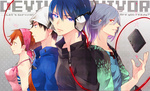 1girl 3boys black_eyes black_hair blue_eyes blue_hair copyright_name english hat headband headphones jewelry kihara_atsurou kyokisaragi megami_ibunroku_devil_survivor multiple_boys naoya necklace orange_eyes orange_hair protagonist_(devil_survivor) red_eyes silver_hair smile tanigawa_yuzu