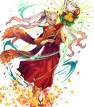 1girl bangs dark_skin feh_(fire_emblem_heroes) fire_emblem fire_emblem_heroes flower full_body geta gradient gradient_hair hair_ornament highres holding japanese_clothes kawasumi_mahiro kimono laevateinn_(fire_emblem_heroes) long_hair looking_away multicolored_hair official_art open_mouth petals pink_hair red_eyes red_hair red_kimono sandals shiny shiny_hair solo sparkle tabi transparent_background twintails very_long_hair white_legwear