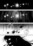 1girl 3boys angry blood blood_splatter comic forest greyscale hoe imaizumi_kagerou japanese_clothes kaito_(kaixm) long_hair monochrome multiple_boys nature page_number sickle silhouette torch touhou translation_request worktool