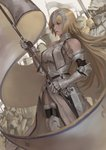 1girl absurdres armor armored_dress bare_shoulders blonde_hair blue_eyes breasts chain fate/apocrypha fate/grand_order fate_(series) faulds flag from_side fur_trim gauntlets hair_between_eyes headpiece highres holding holding_flag jeanne_d'arc_(fate) jeanne_d'arc_(fate)_(all) knight large_breasts long_hair peperon_(peperou) plackart standard_bearer standing thighhighs