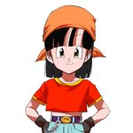 1girl ^_^ animated animated_gif belt black_eyes black_hair blush chain closed_eyes denim dragon_ball dragon_ball_gt frown gloves hands_on_hips head_scarf jeans live2d looking_at_viewer lowres navel ochanoko_(get9-sac) open_mouth pan_(dragon_ball) pants red_shirt shaded_face shirt simple_background smile solo_focus ugoira upper_body white_background