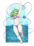 1girl absurdres aqua_eyes arm_up armpits bare_legs barefoot bikini blue_bikini blush breasts chefhart cloud commentary curly_hair english_commentary foot_up green_hair highres komeiji_koishi looking_at_viewer medium_breasts navel ocean one_eye_closed open_mouth sharp_teeth short_hair side-tie_bikini sky smile solo swimsuit teeth thick_thighs thighs third_eye touhou underboob untied untied_bikini wardrobe_malfunction water waving