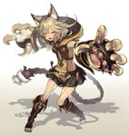 1girl animal_ears arm_strap bare_shoulders belt boots breasts bukurote center_opening claw_(weapon) fang flipped_hair full_body gloves gradient gradient_background granblue_fantasy hip_vent hood knee_boots long_hair looking_at_viewer miniskirt open_mouth outstretched_arm paw_gloves red_eyes sen_(granblue_fantasy) shadow silver_hair skirt solo thighs weapon