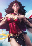 1girl armlet biceps black_hair blue_eyes blue_sky cape cloud day dc_comics earrings highres jewelry lasso lens_flare looking_at_viewer outstretched_arms parted_lips realistic shield skirt sky solo stanley_lau strapless superhero tiara toned wonder_woman wonder_woman_(series)